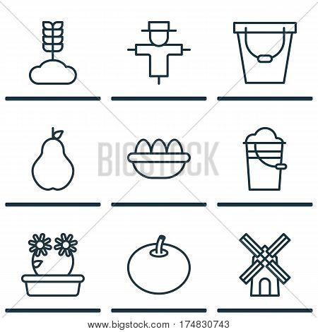 Set Of 9 Agriculture Icons. Includes Duchess, Mill, Radish And Other Symbols. Beautiful Design Elements.