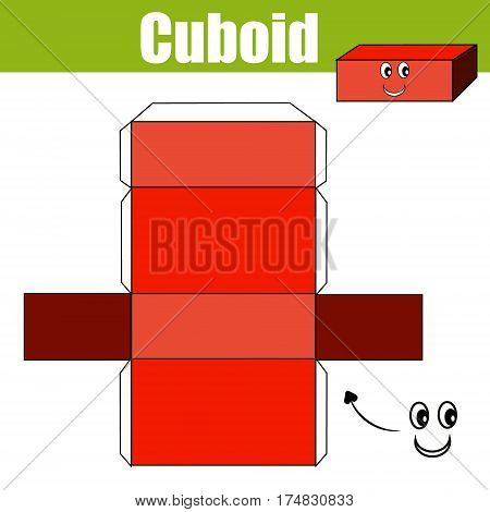 DIY children educational game. Do it yourself handmade creative printable tutorial for kids. Make a cuboid figure with cut and glue. Learning geometric shapes
