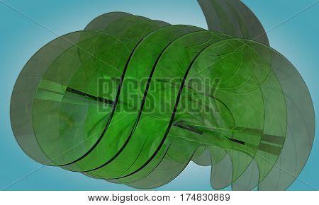 Abstract green glass objeckt ,3d render working
