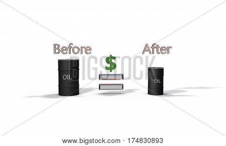 Oil Prices, Before And After 3D Render