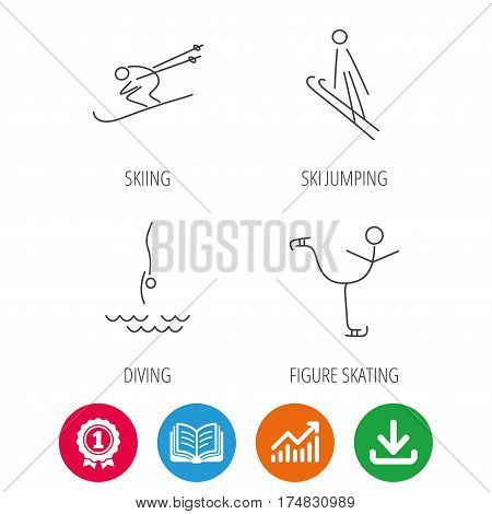 Diving, figure skating and skiing icons. Ski jumping linear sign. Award medal, growth chart and opened book web icons. Download arrow. Vector