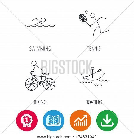 Swimming, tennis and biking icons. Boating linear sign. Award medal, growth chart and opened book web icons. Download arrow. Vector