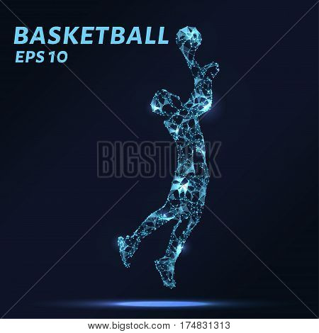 Basketball Player Consists Of Points, Lines And Triangles. The Polygon Shape In The Form Of A Silhou