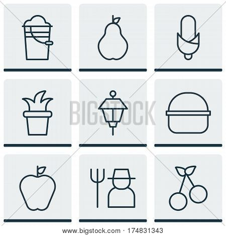 Set Of 9 Farm Icons. Includes Taste Apple, Grower, Sweet Berry And Other Symbols. Beautiful Design Elements.
