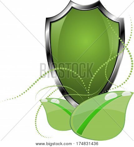 Eco Protect Logo Template Design. Ecological shield label. Plant icon. Herb badge. Young flower sprout from the root picture. Ecology tag. Grass Vector illustration. Greenery chek