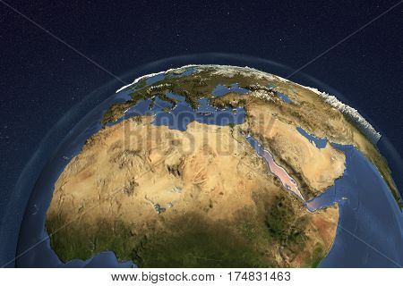 Planet Earth from space showing Northern Africa and Arabian Peninsula, 3D illustration, Elements of this image furnished by NASA
