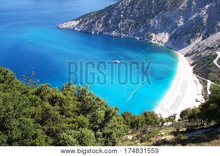 Classical view of Myrtos beach or bay on Kefalonia island Greece
