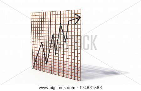 Bourse chart isolated on the white 3d render working