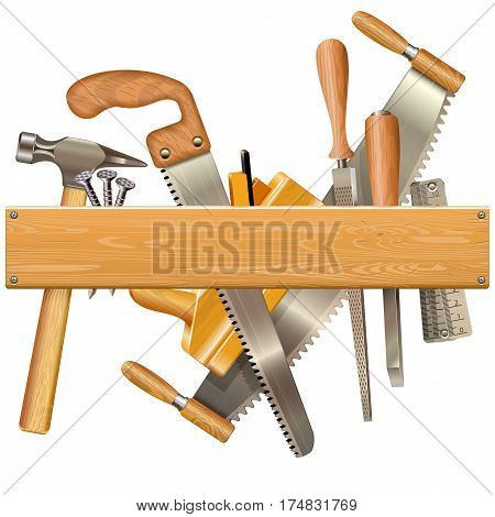 Vector Wooden Plank with Retro Tools isolated on white background