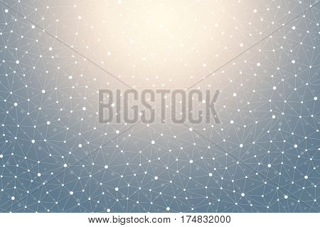 Geometric graphic background with connected lines and dots. Scientific cybernetic particle compounds. Minimal array. Lines plexus. Chemical surface pattern. Vector illustration