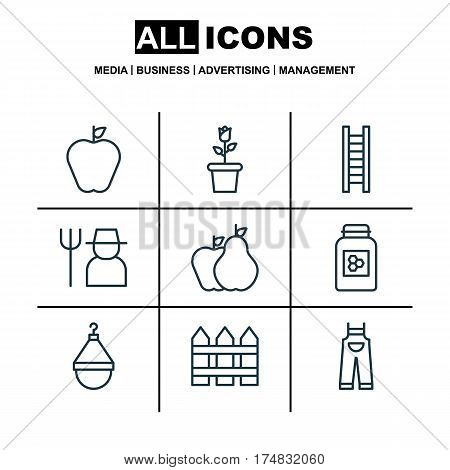 Set Of 9 Holticulture Icons. Includes Hanger, Barrier, Jar And Other Symbols. Beautiful Design Elements.