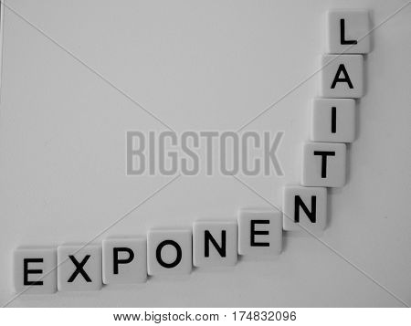 Word exponential  in black lettering on white tiles, in the shape of an exponential curve