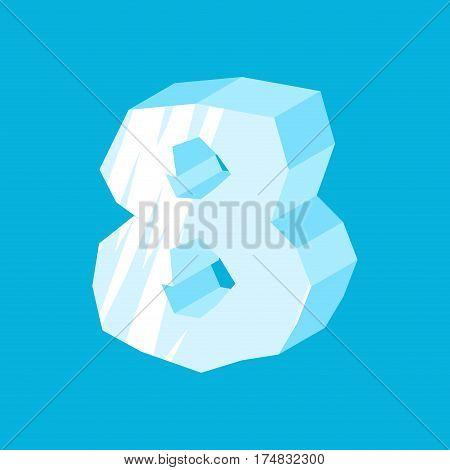 Number 8 Ice. Icicles Font Eight. Frozen Alphabet Symbol. Iceberg Abc Sign