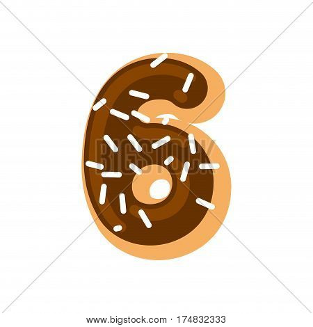 Number 6 Donut. Doughnut Font Six. Sweet Alphabet. Candy Lettering. Food Abc Sign