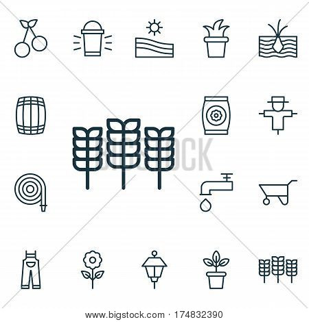 Set Of 16 Plant Icons. Includes Flowerpot, Growing Plant, Cask And Other Symbols. Beautiful Design Elements.