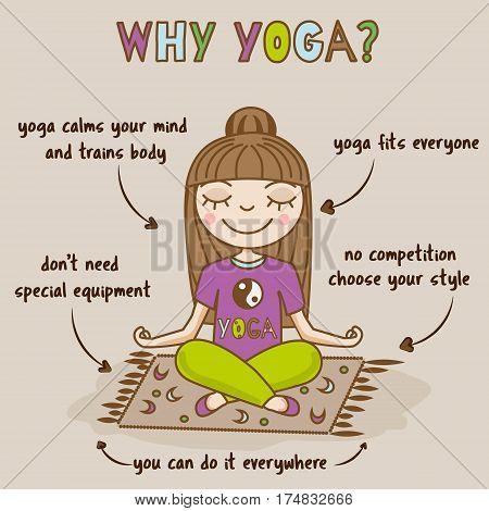 Girl doing yoga. Woman sitting in half lotus pose. Yoga benefits infographic. Hand drawn vector illustration. Meditation