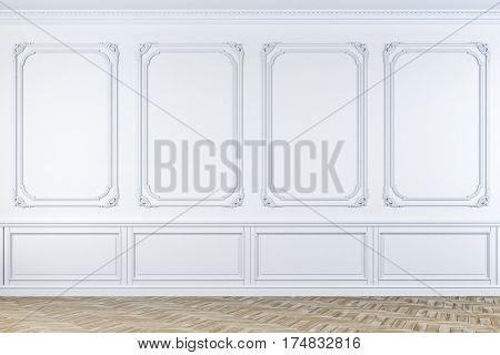 3d empty vintage room with wooden floor