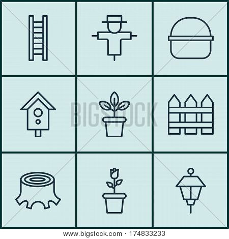 Set Of 9 Garden Icons. Includes Birdhouse, Tree Stub, Package And Other Symbols. Beautiful Design Elements.