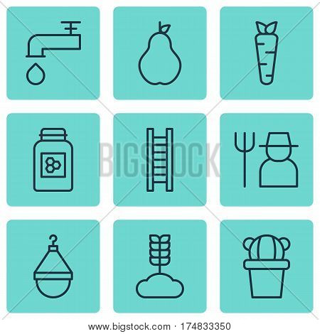 Set Of 9 Garden Icons. Includes Spigot, Cereal, Hanger And Other Symbols. Beautiful Design Elements.