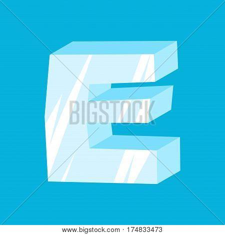 Letter E Ice Font. Icicles Alphabet. Freeze Lettering. Iceberg Abc Sign