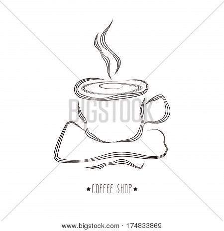 Hand drawn vector illustration of cup of hot coffee. Concept image of coffeehouse restaurant menu cafe coffee shop