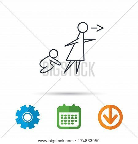 Unattended baby icon. Babysitting care sign. Do not leave your child alone symbol. Calendar, cogwheel and download arrow signs. Colored flat web icons. Vector