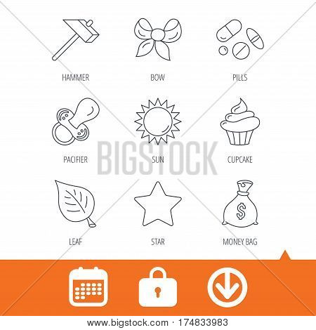 Money bag, star and bow icons. Leaf, pacifier and sun linear signs. Cupcake, pills and hammer flat line icons. Download arrow, locker and calendar web icons. Vector
