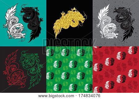 Isolated Chinese Dragon Oriental Feng Shui in symbol of the Yin Yang. Vector