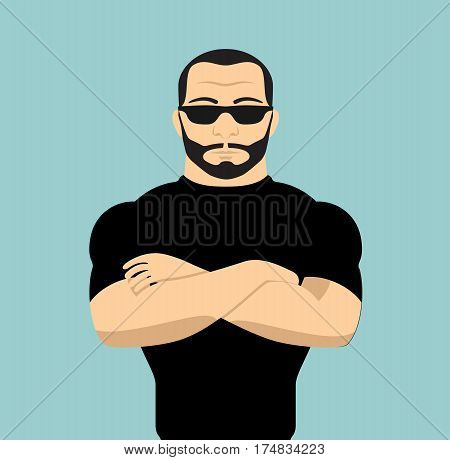 Man security guard of night club. Security man vector stock.