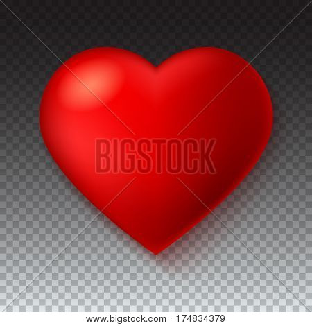 Big red, a scarlet heart isolated on transparent background with shadow. Symbol, Icon, 3D illustration for use in template for greeting card, shape closeup, red heart icon for web sites and apps.