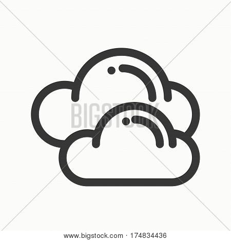 Cloud, sky, line simple icon. Weather symbols. Meteorology. Forecast design element. Template for mobile app, web and widgets. Vector linear icon. Isolated illustration. Flat sign Logo
