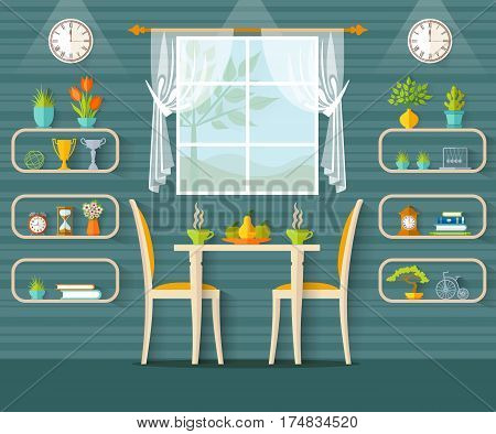 Vector interior cafe. The design of cafe bistro restaurant or dining area in the flat style.
