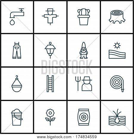 Set Of 16 Plant Icons. Includes Spigot, Hanger, Fertilizer And Other Symbols. Beautiful Design Elements.