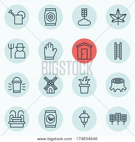 Set Of 16 Holticulture Icons. Includes Hang Lamp, Water Monument, Protection Mitt And Other Symbols. Beautiful Design Elements.