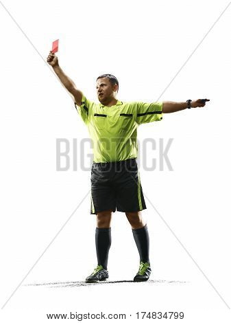 Professional soccer referee isolated on the white background