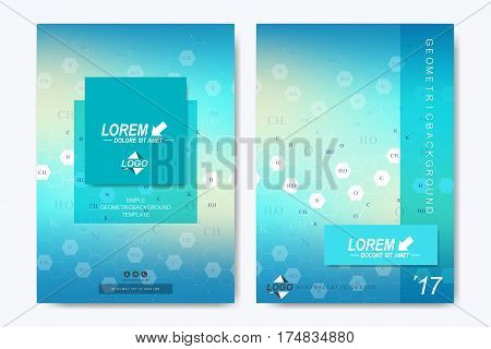 Modern vector template for brochure Leaflet flyer, advert, cover, catalog, magazine or annual report. Business, science, medical design. Scientific hexagonal pattern, structure molecule. Card surface