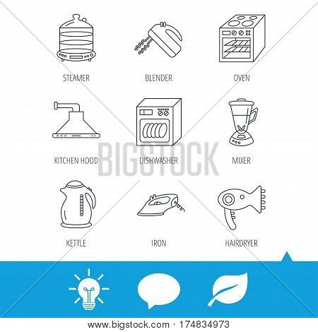 Dishwasher, kettle and mixer icons. Oven, steamer and iron linear signs. Hair dryer, blender and kitchen hood icons. Light bulb, speech bubble and leaf web icons. Vector