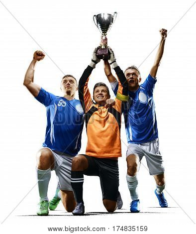 Professional soccer team with cup celebrating the victory