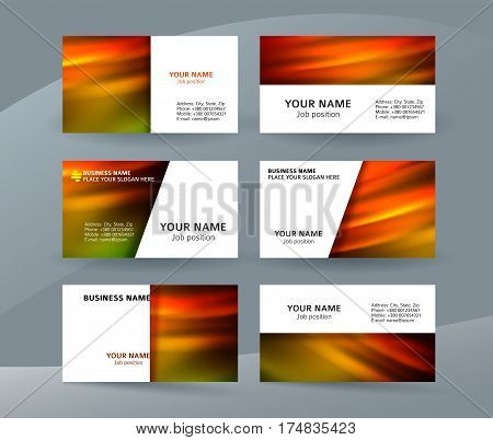 Business Card Layout Template Set33
