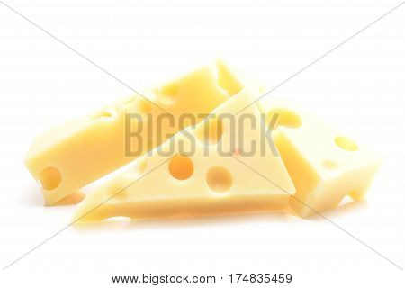 Emmental cheese isolated on white background .