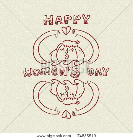 Happy International Womens Day Nature Care Doodle
