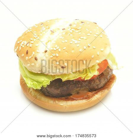 Close-up of a tasty hamburger sandwich on white background