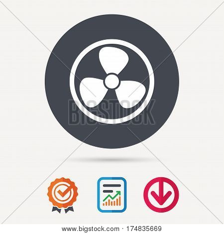 Ventilation icon. Air ventilator or fan symbol. Report document, award medal with tick and new tag signs. Colored flat web icons. Vector