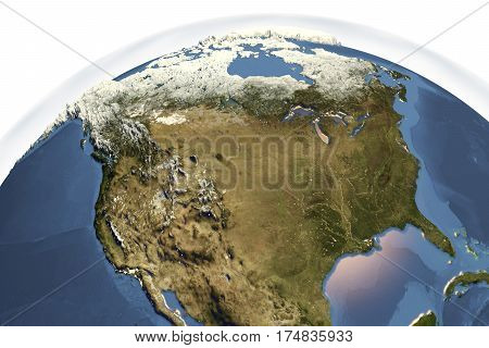 Planet Earth from space showing USA and Canada in winter with enhanced bump, 3D illustration, Elements of this image furnished by NASA
