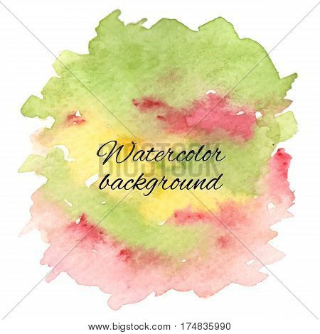 Abstract handdrawn colorful watercolor background. Creative background, hand made decoration. Vector illustration