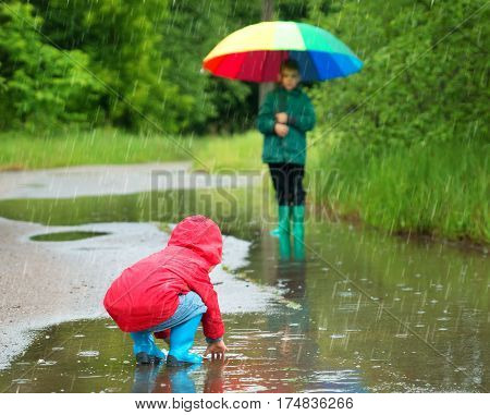 Children walking in wellies in puddle on rainy weather. Boy holding colourful umbrella under rain in summer