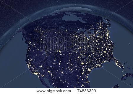 Planet Earth from space showing USA and Canada in night with enhanced bump, 3D illustration, Elements of this image furnished by NASA