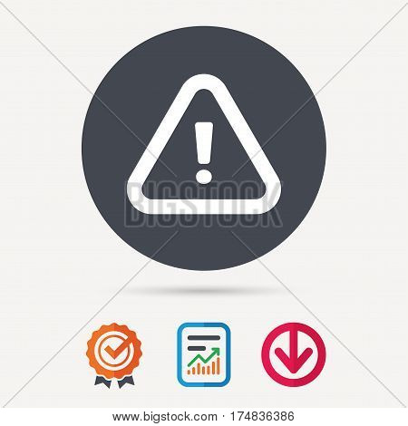 Warning icon. Attention exclamation mark symbol. Report document, award medal with tick and new tag signs. Colored flat web icons. Vector