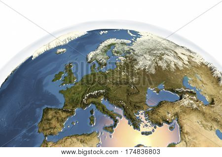 Planet Earth from space showing Western Europe in winter with enhanced bump, 3D illustration, Elements of this image furnished by NASA