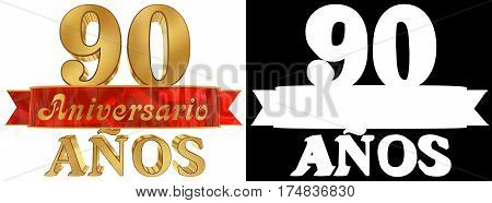 Golden digit ninety and the word of the year. Translated from the Spanish. 3D illustration